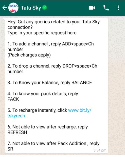 Tata sky whatsapp