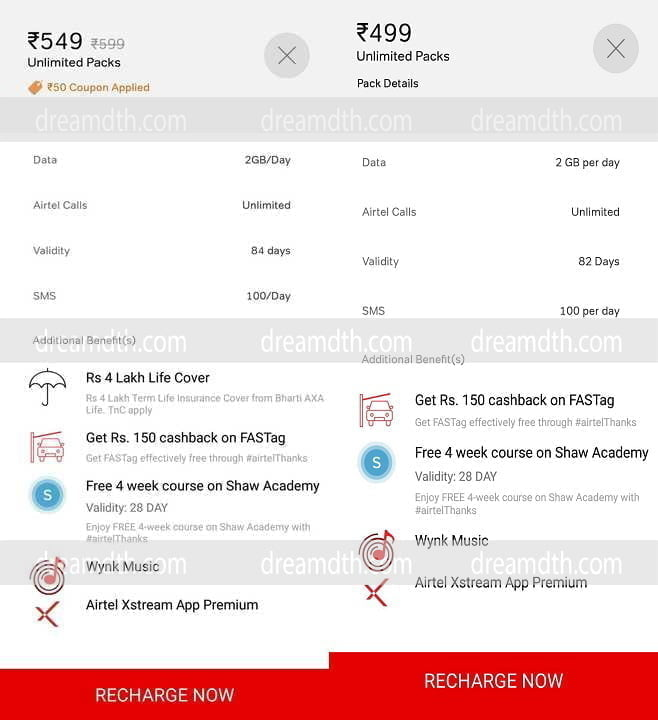 Airtel new prepaid plans at Rs 499 and Rs 599 without off-net calls available for select customers
