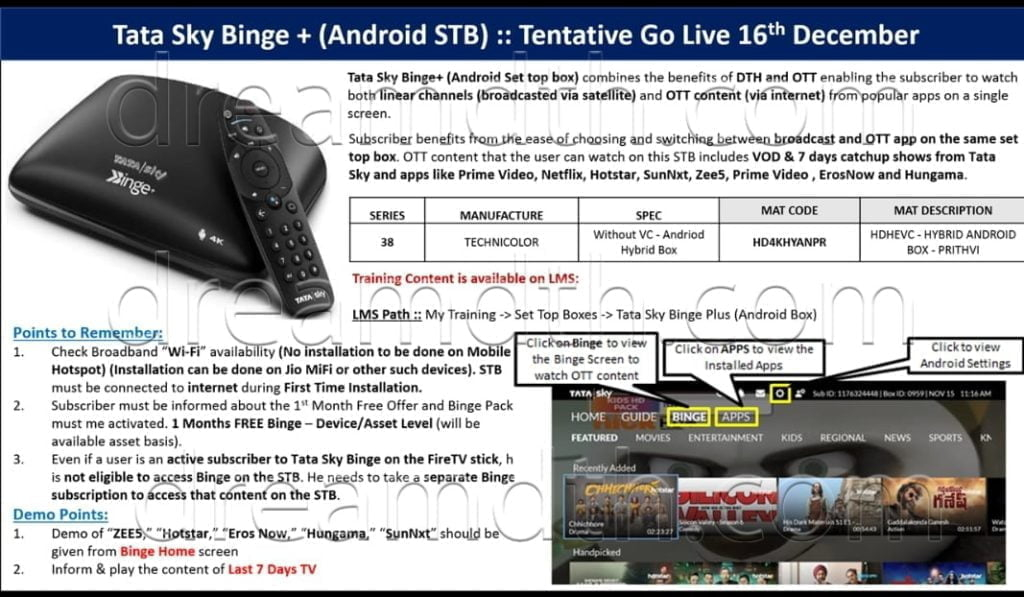 Tata Sky may launch Hybrid Android STB Binge+ on 16th December, Exclusive first look here