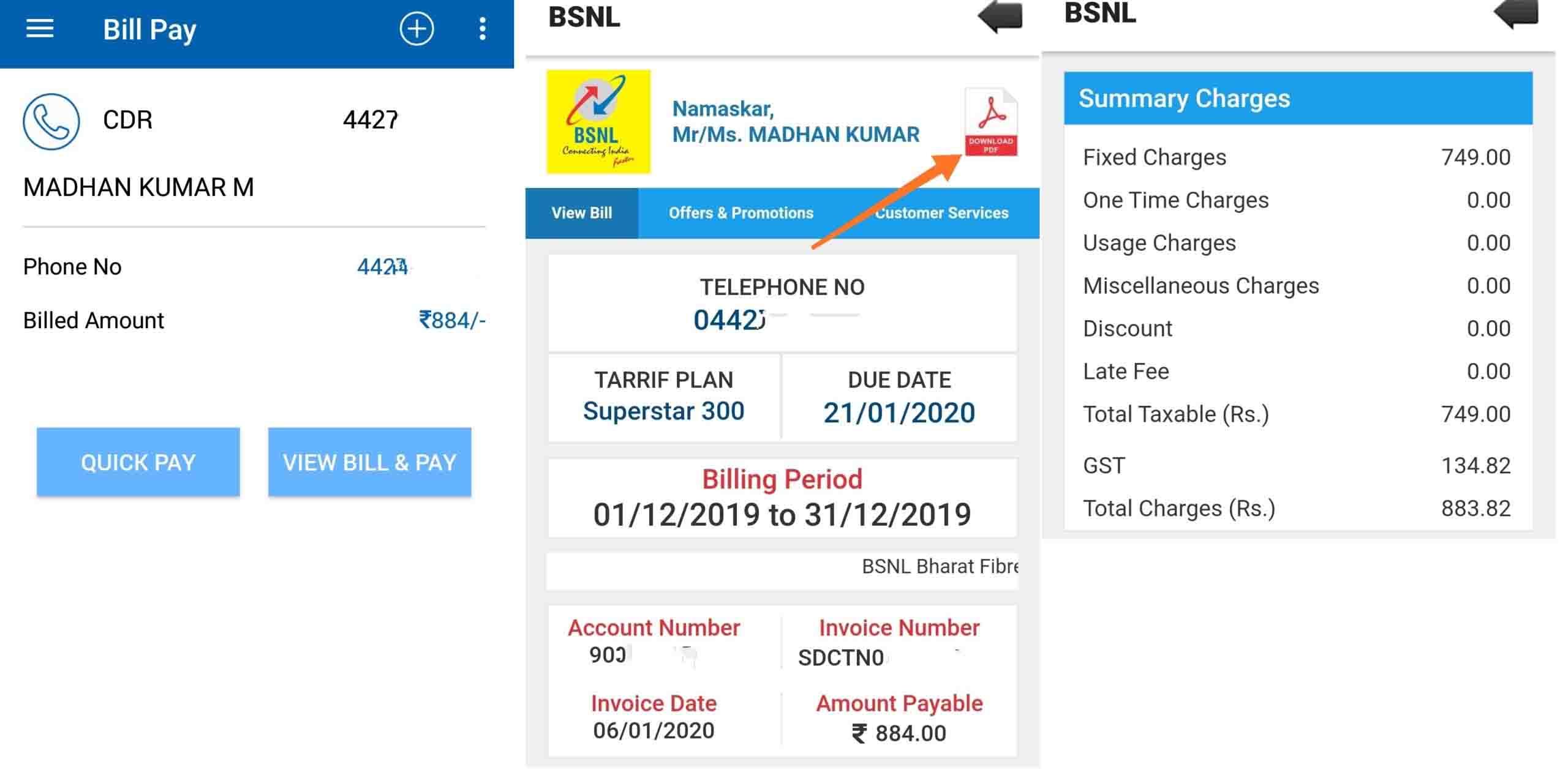 BSNL Digital Bill MYBSNL app