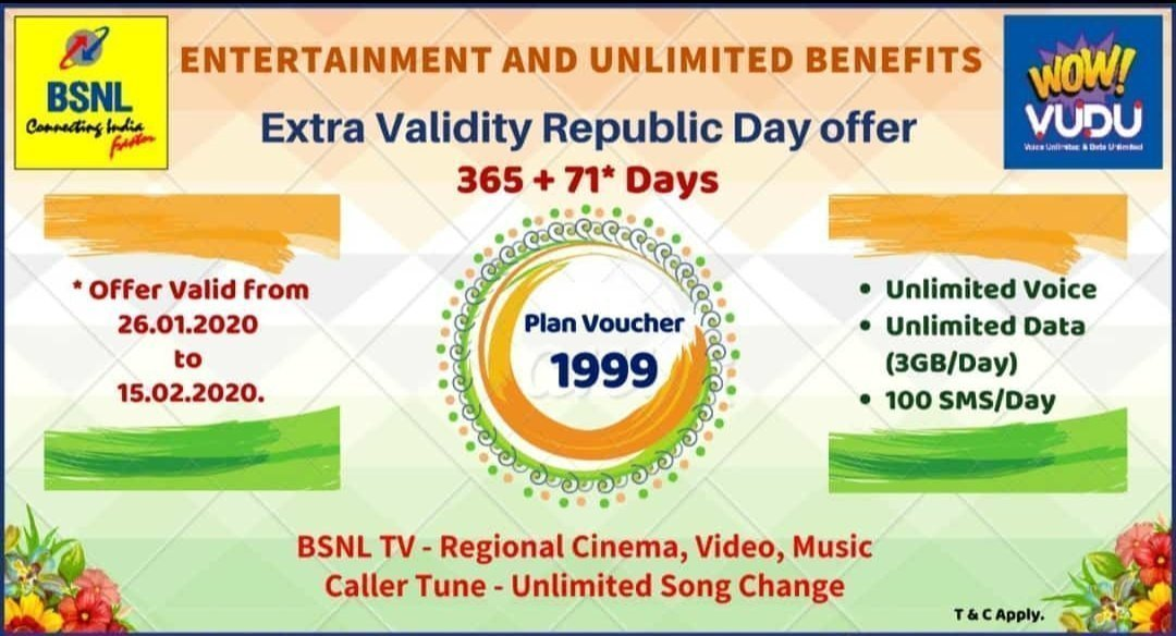 BSNL offering 71 days extra validity on PV 1,999