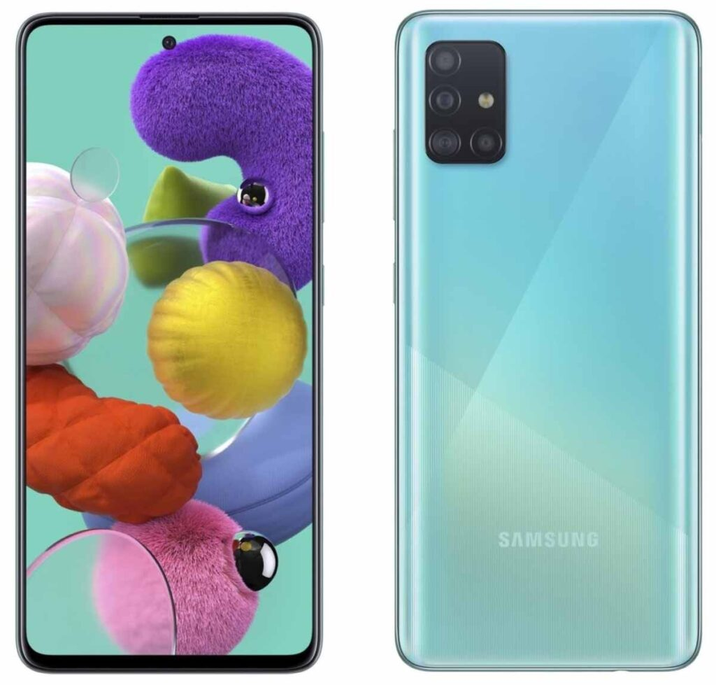 Samsung Galaxy A51 Blue front back