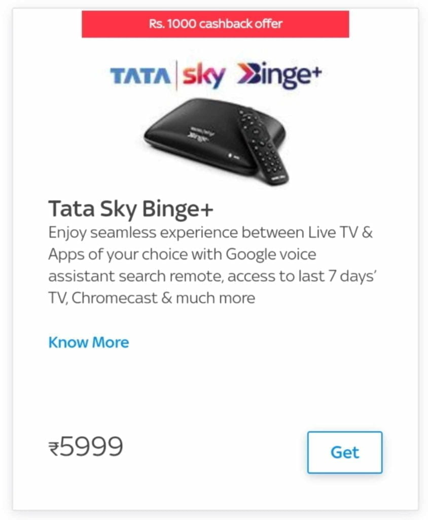 Rs 1000 Cashback on Tata Sky Binge Plus set top box