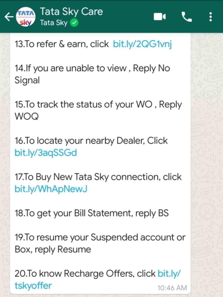 Tata sky whatsapp jan 2020