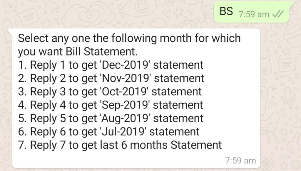 Tata sky whatsapp monthly statement