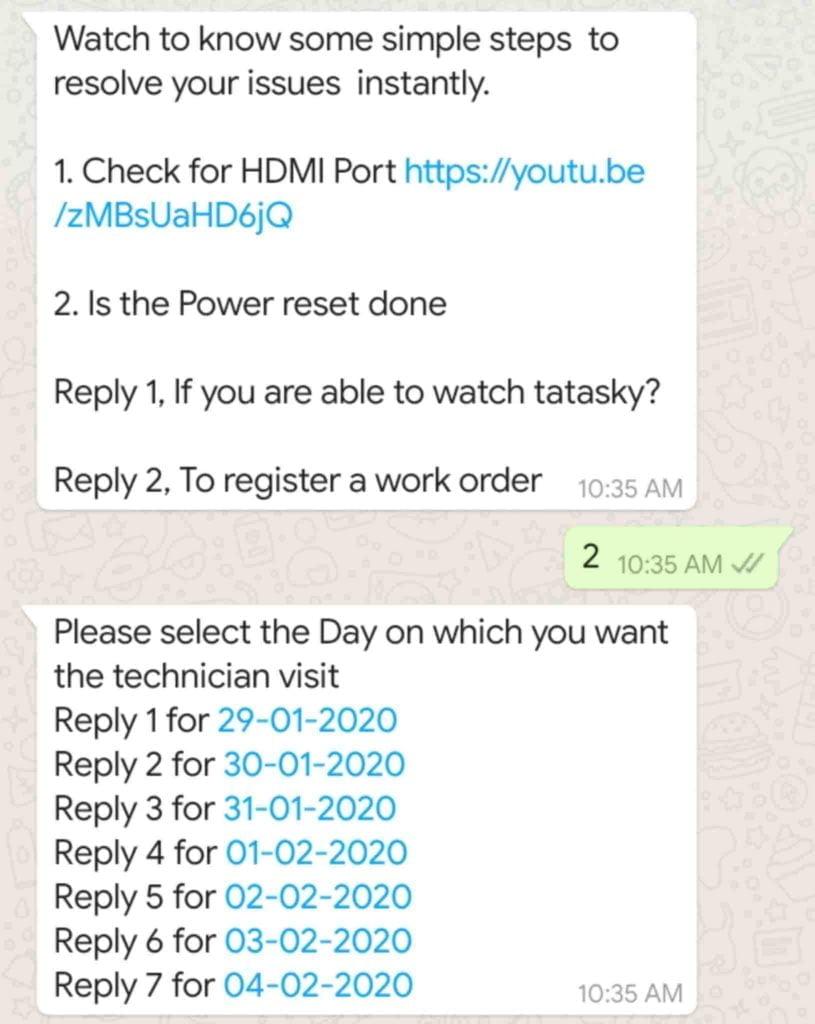 Tata sky whatsapp technician visit