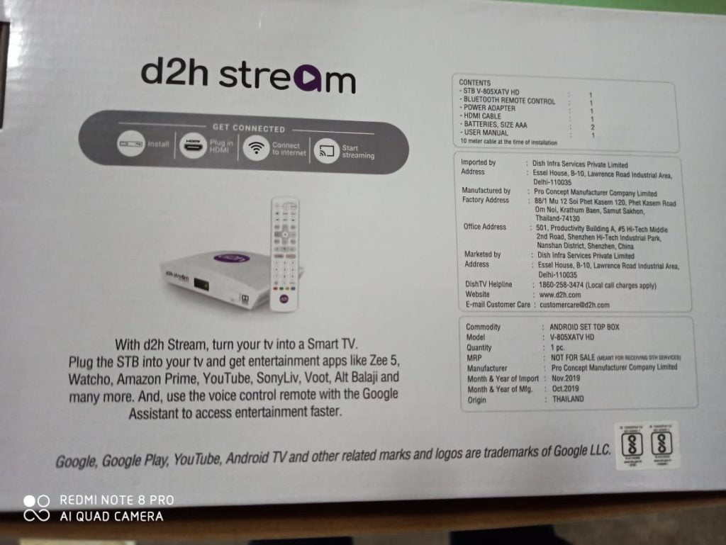 d2h Stream STB Back Cover