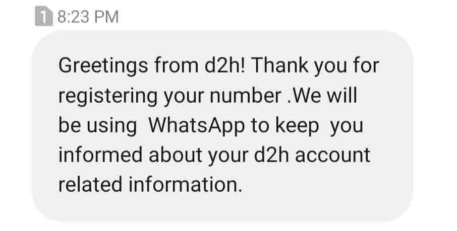 d2h to give updates via Whatsapp; launches Whatsapp Missed Service