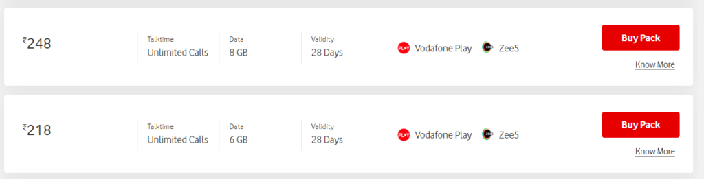 Vodafone Idea launches Rs 218 and Rs 248 Prepaid Plan offering 28 days validity