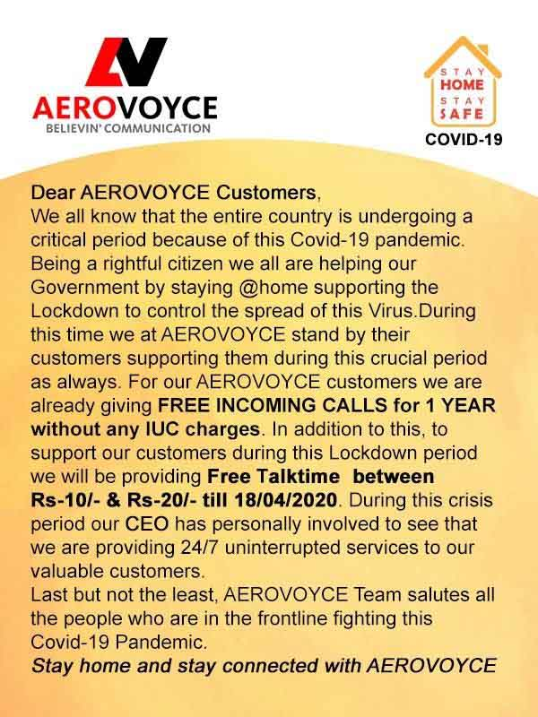 Aerovoyce offers Free Talktime and Incoming calls to customers during lockdown