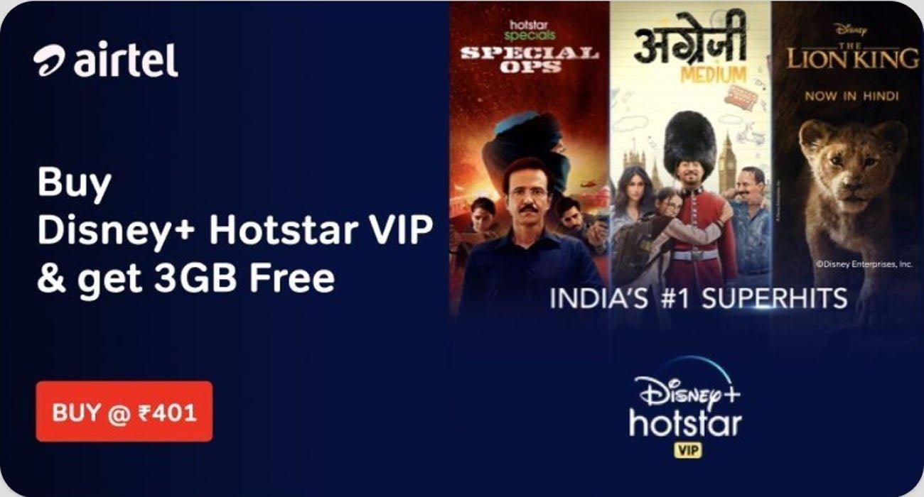 Airtel Disney Hotstar VIP Rs 401 Prepaid Plan