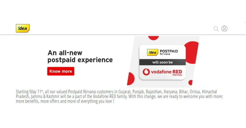 Idea Postpaid Nirvana to become Vodafone RED Postpaid in 8 Telecom circles this May 11