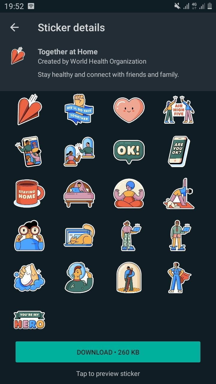 WhatsApp Together at Home sticker pack