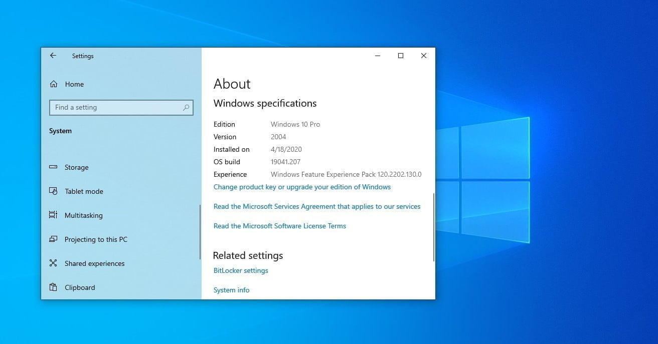 Windows 10 Specs