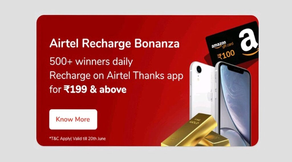 Airtel Recharge Bonanza: Win iPhone XR, Gold Bar, and much more