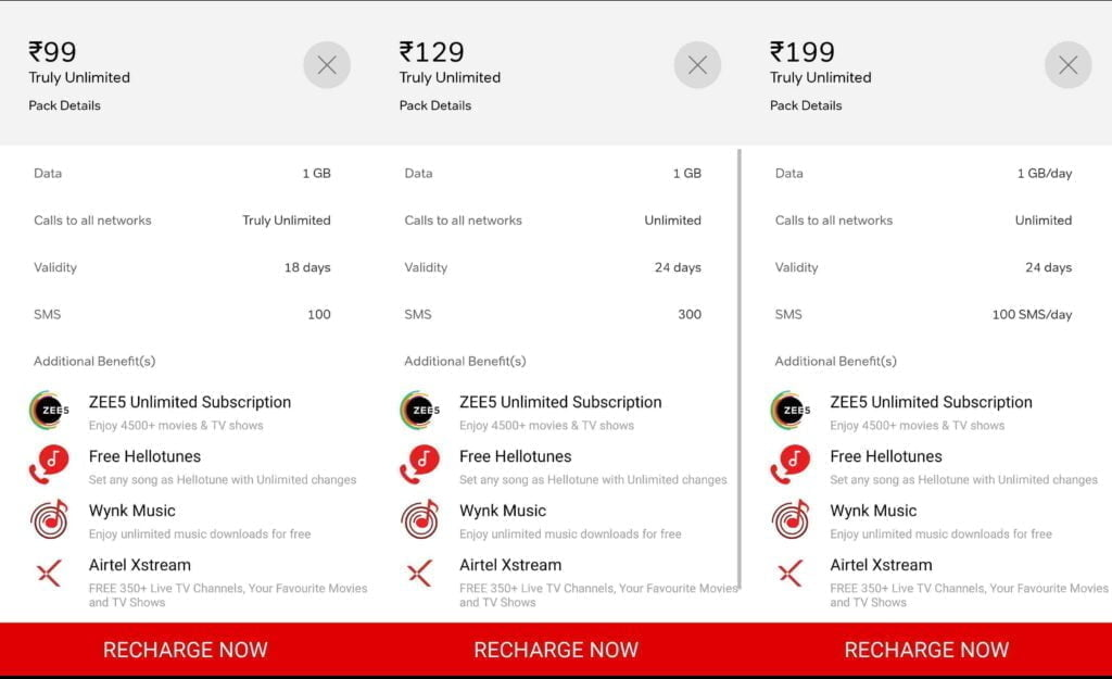 Airtel's Rs 99, Rs 129, and Rs 199 Prepaid Plans are exclusively available in select circles