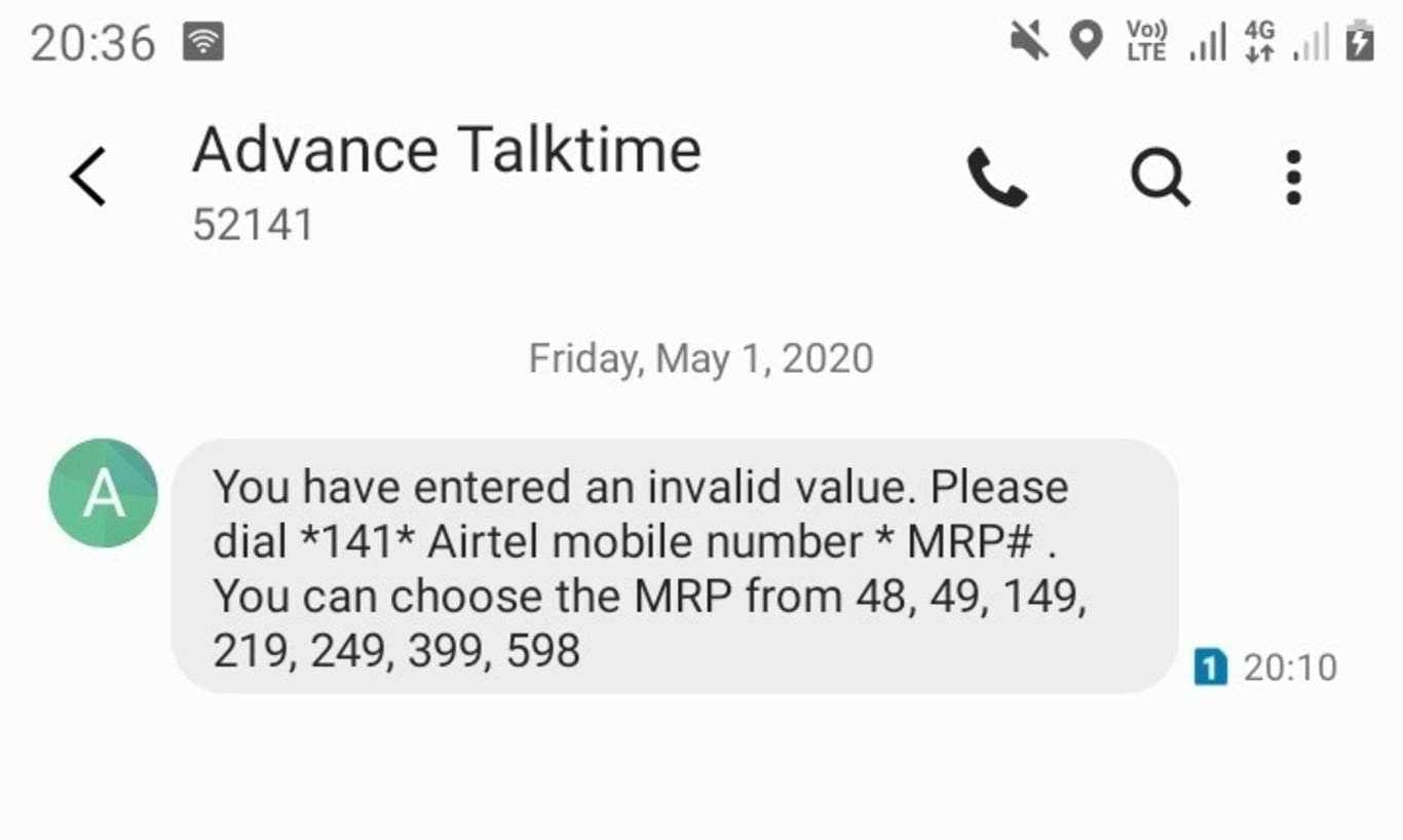 Recharge other Airtel number using main account balance and get four percent cashback