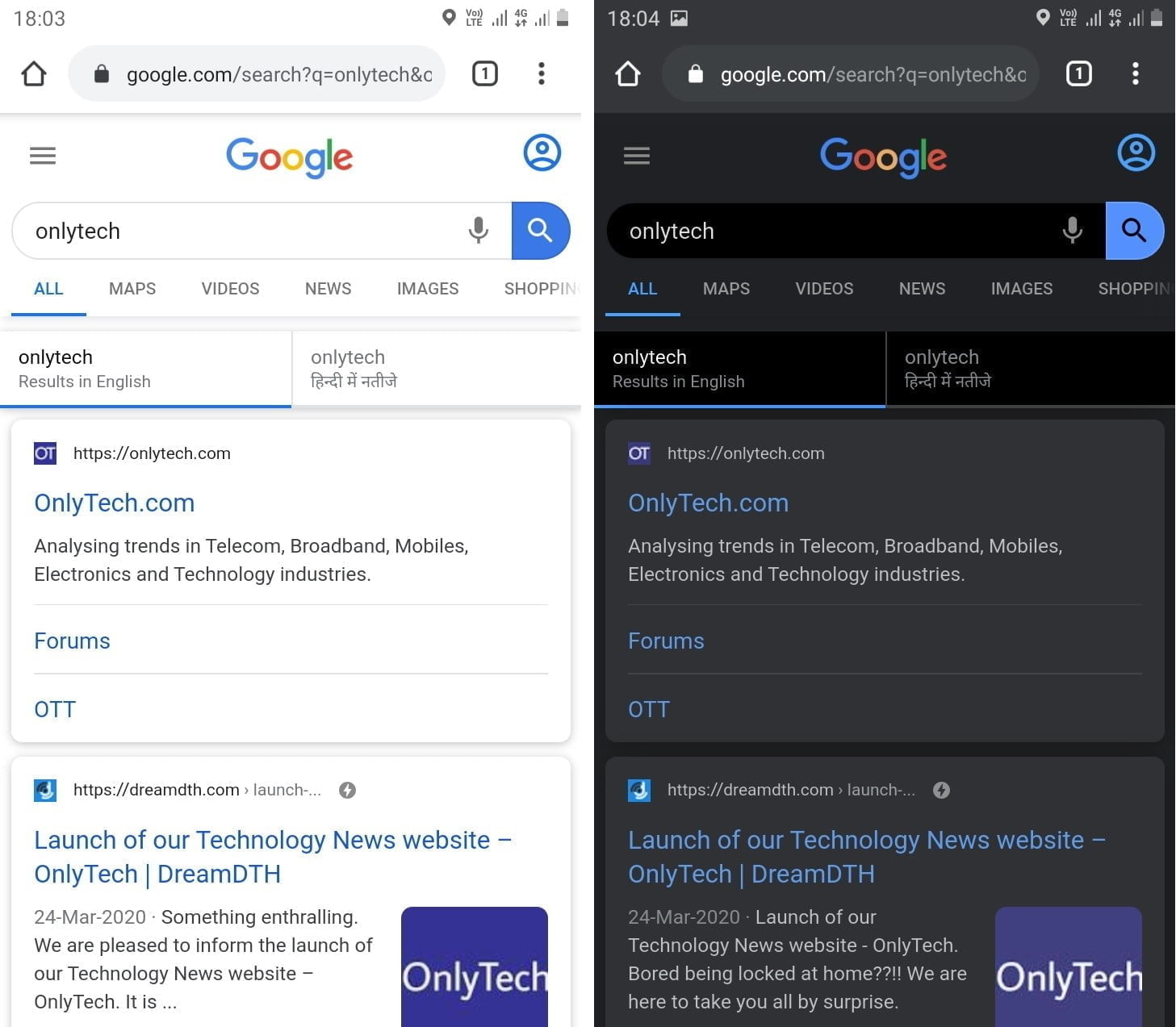 Chrome for Android may soon display Google Search results in dark theme