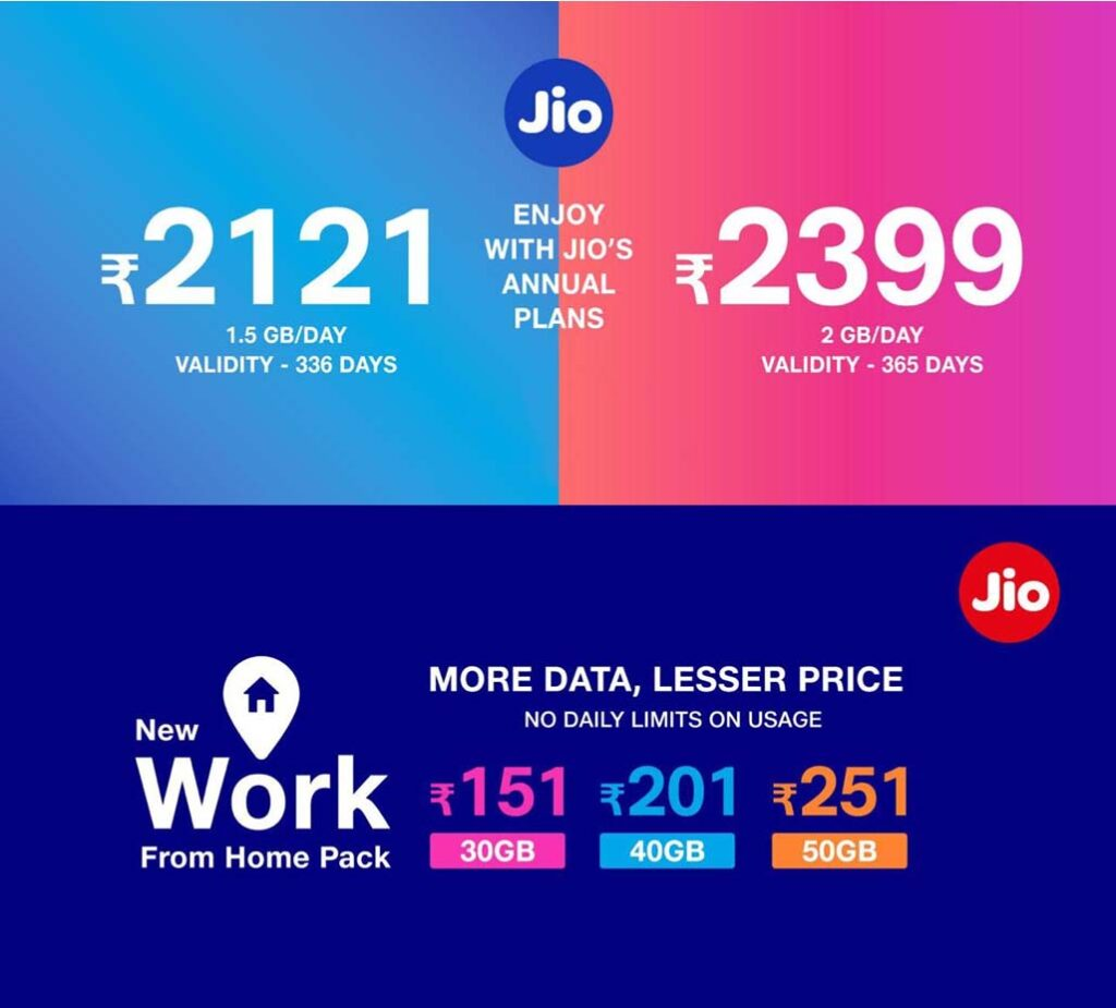 Jio launches Rs 2399 Annual Pack and new Work From Home packs