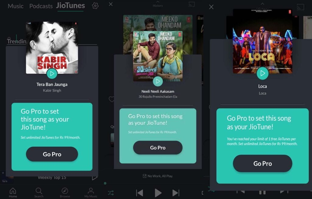 JioSaavn Pro subscription required to set JioTunes now