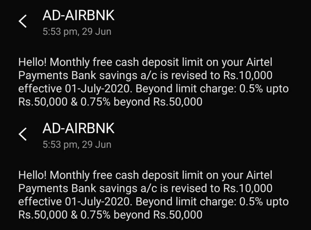 Airtel Payments Bank revising monthly free cash deposit and withdrawal limit