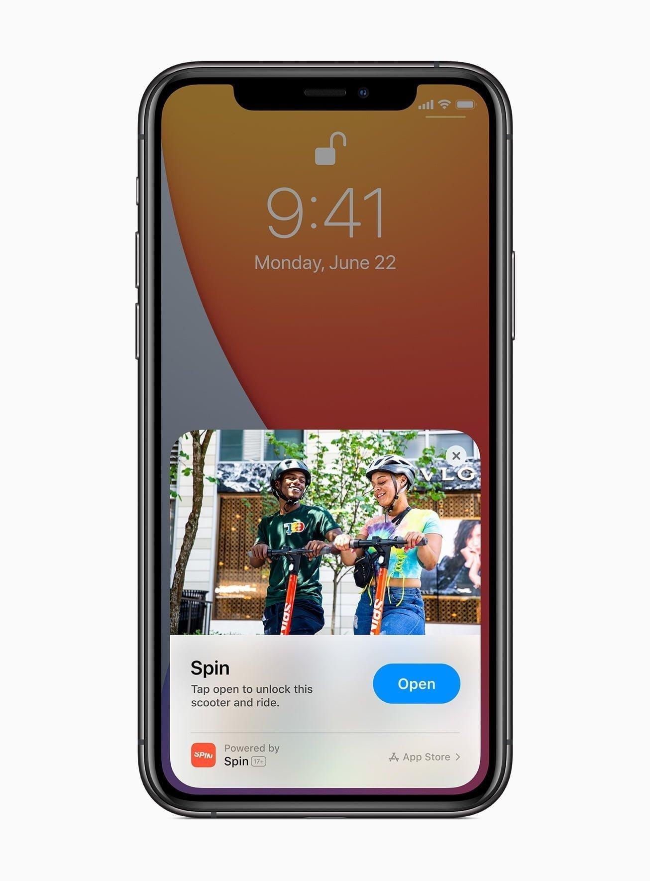 Apple ios14 app clips spin app