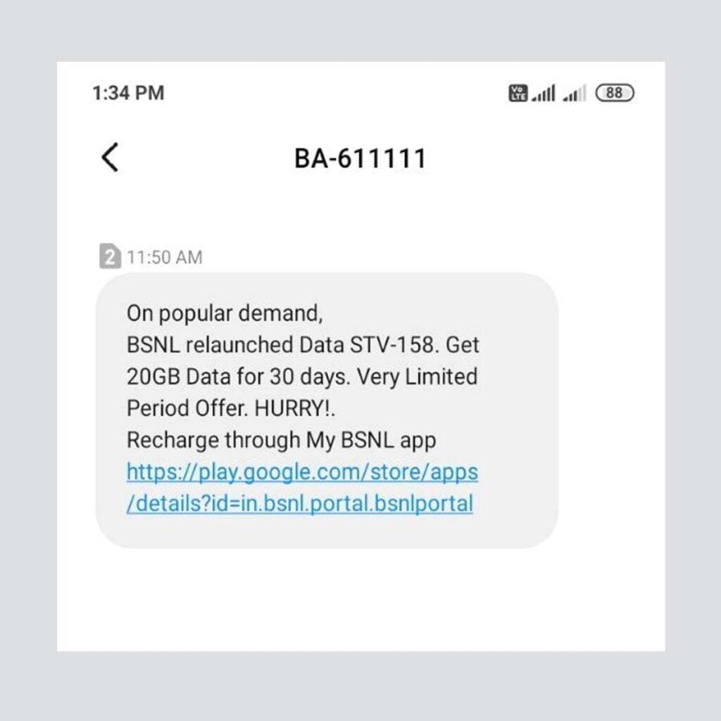 BSNL Andhra Pradesh relaunches Data STV 158 on Popular Demand