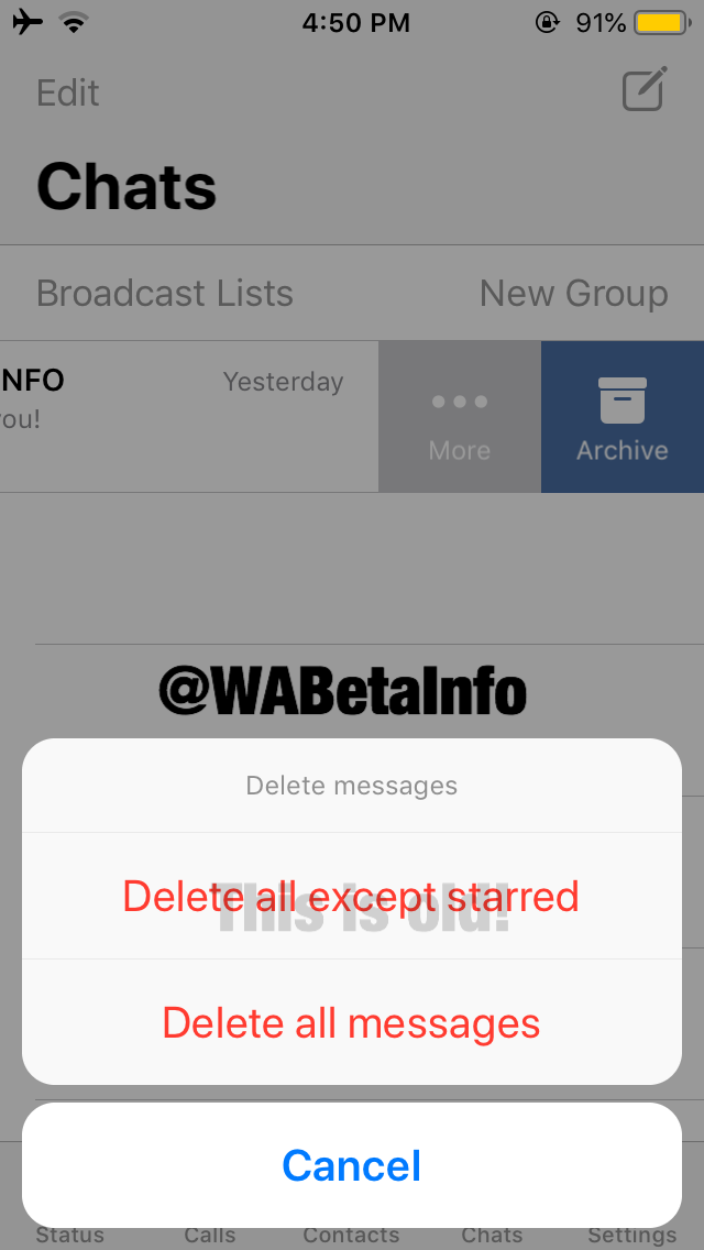 Clear chats except starred WhatsApp