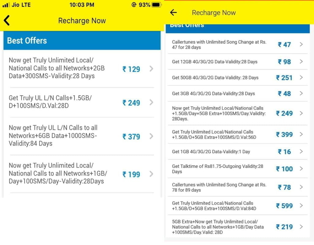Vodafone Idea apparently offering upgraded benefits on prepaid plans under 'Recommended' section