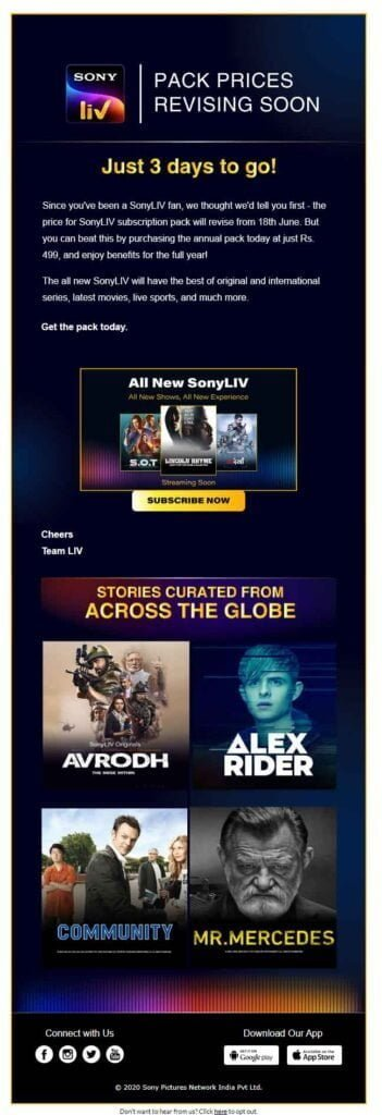 SonyLIV pack prices revising from 18th June