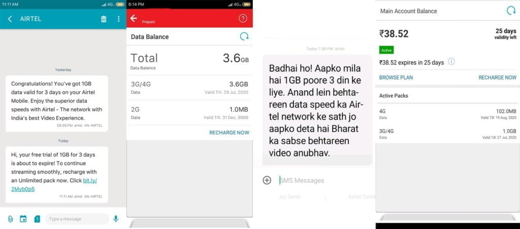 Airtel offering 1GB free data for 3 days to select users