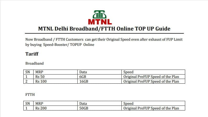 MTNL Delhi brings in broadband Topup; bumps up FUP limit for FTTH and broadband plans