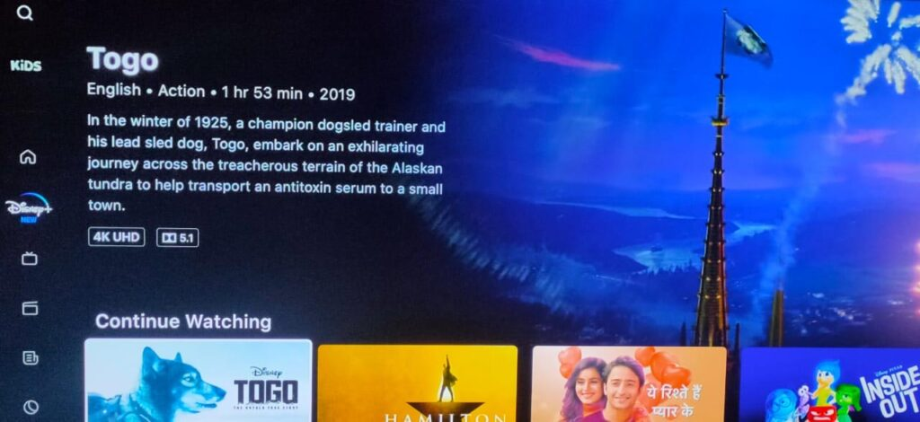 Disney+ Hotstar enables 4K UHD with Togo streaming at 22.4 Mbps bitrate
