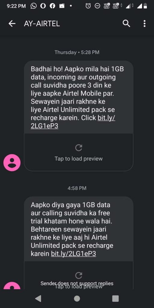 Airtel offering 1GB data, incoming and outgoing calling on a free trial for 3 days to inactive users