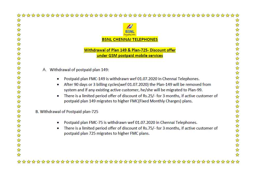 BSNL launches discount offer on the withdrawal of Plan 149 and Plan 725