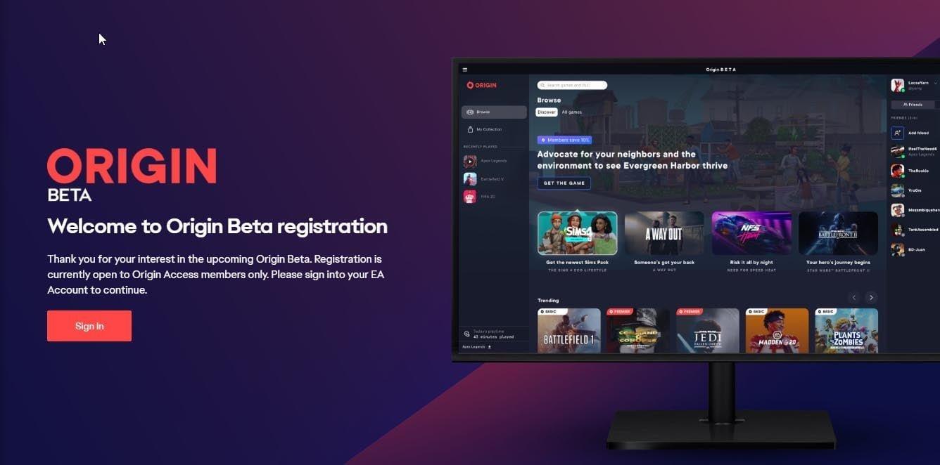 EA Origin Beta