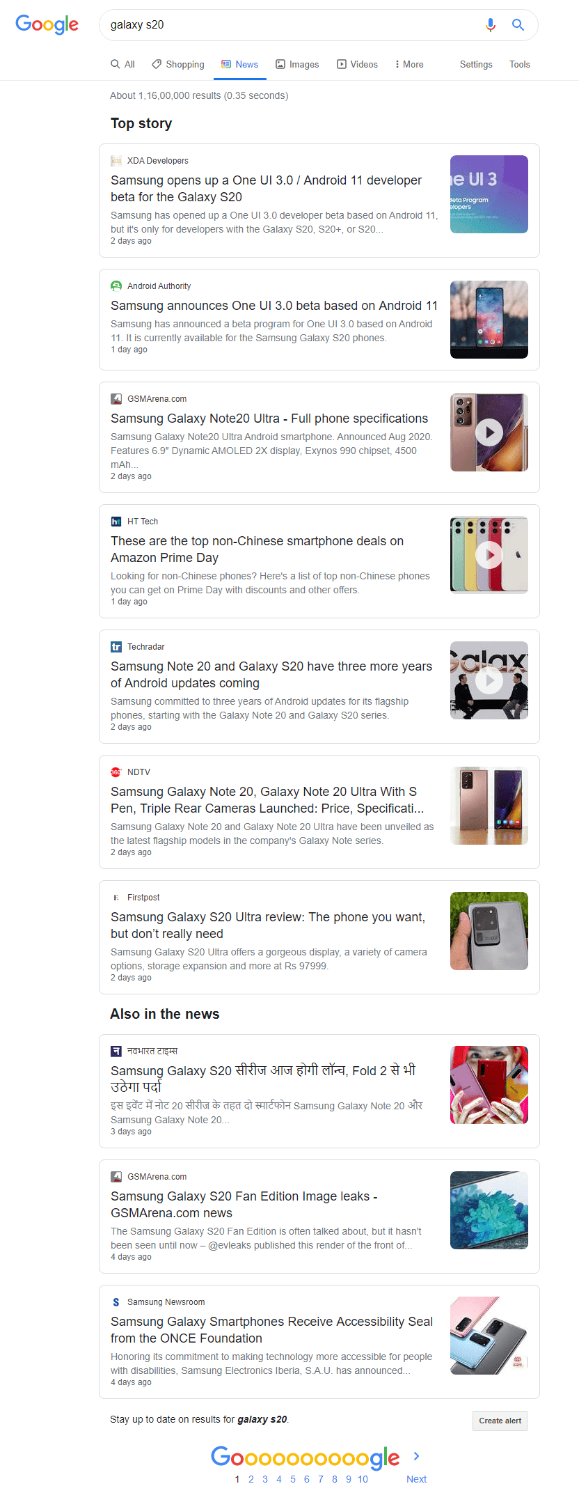 Google testing enhanced search results on the news tab with headings