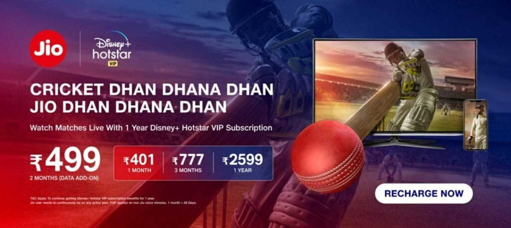 Reliance Jio launches Rs 499 Full Season Cricket pack and Rs 777 Disney+ Hotstar pack