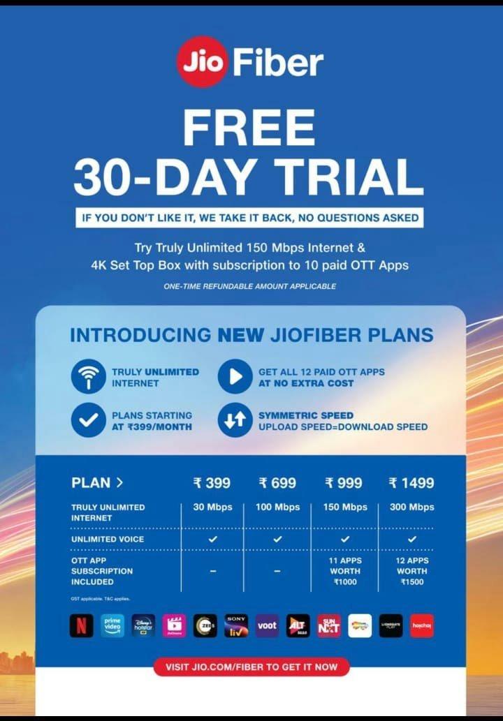 JioFiber 30 Day Trial