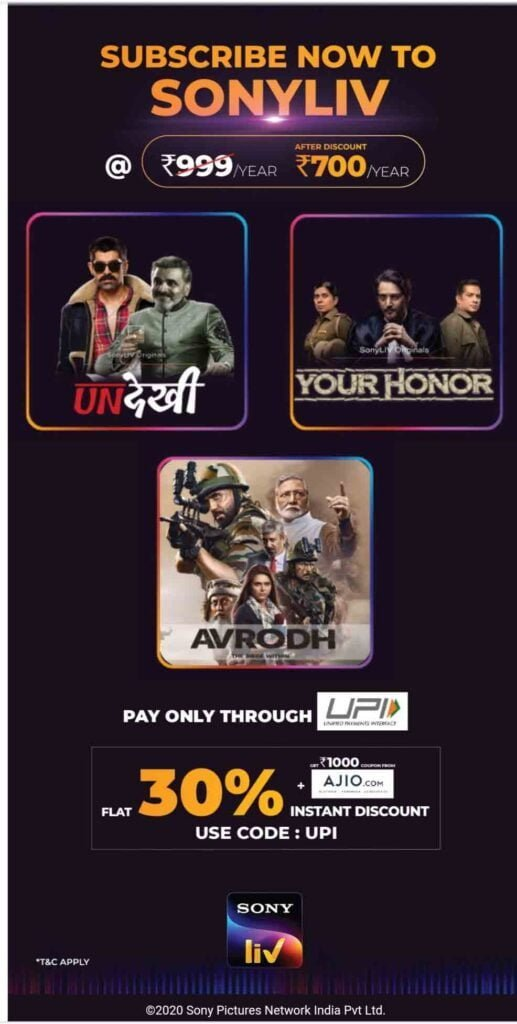 SonyLIV offers annual subscription at Rs 700 through UPI