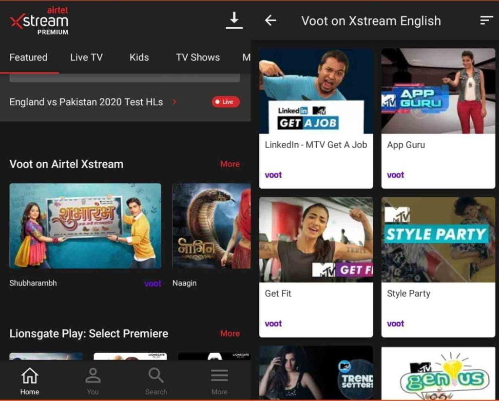 Voot content now available on Airtel Xstream platform