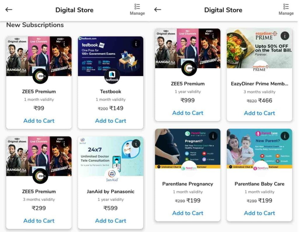 Airtel Thanks Digital Store now offering 3M and 12M ZEE5 topup as well