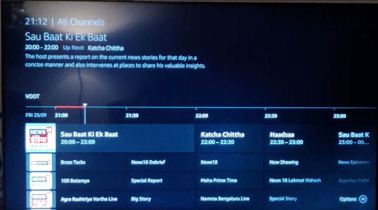 Fire TV Live Channel Guide