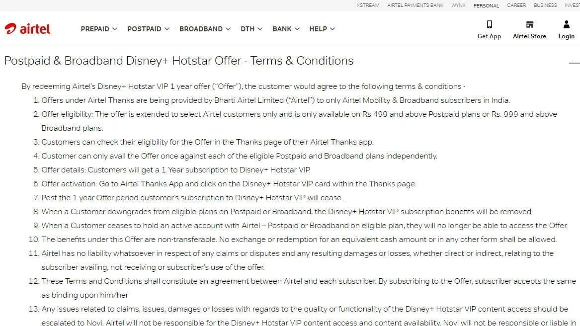 Airtel Hotstar Postpaid Broadband