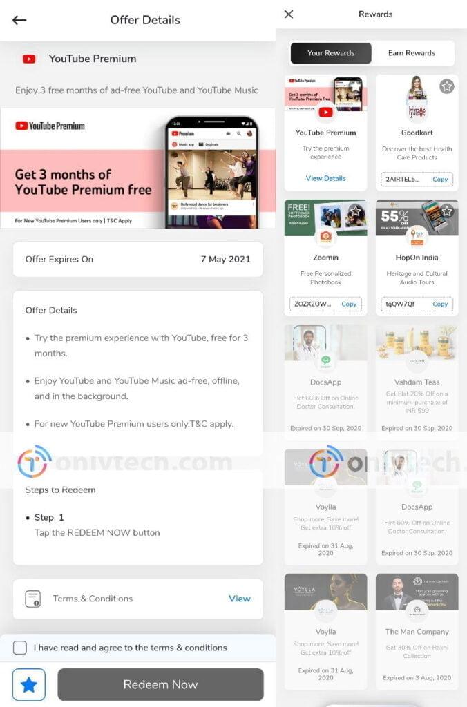 Airtel offering 3 months YouTube Premium through Airtel Thanks Rewards