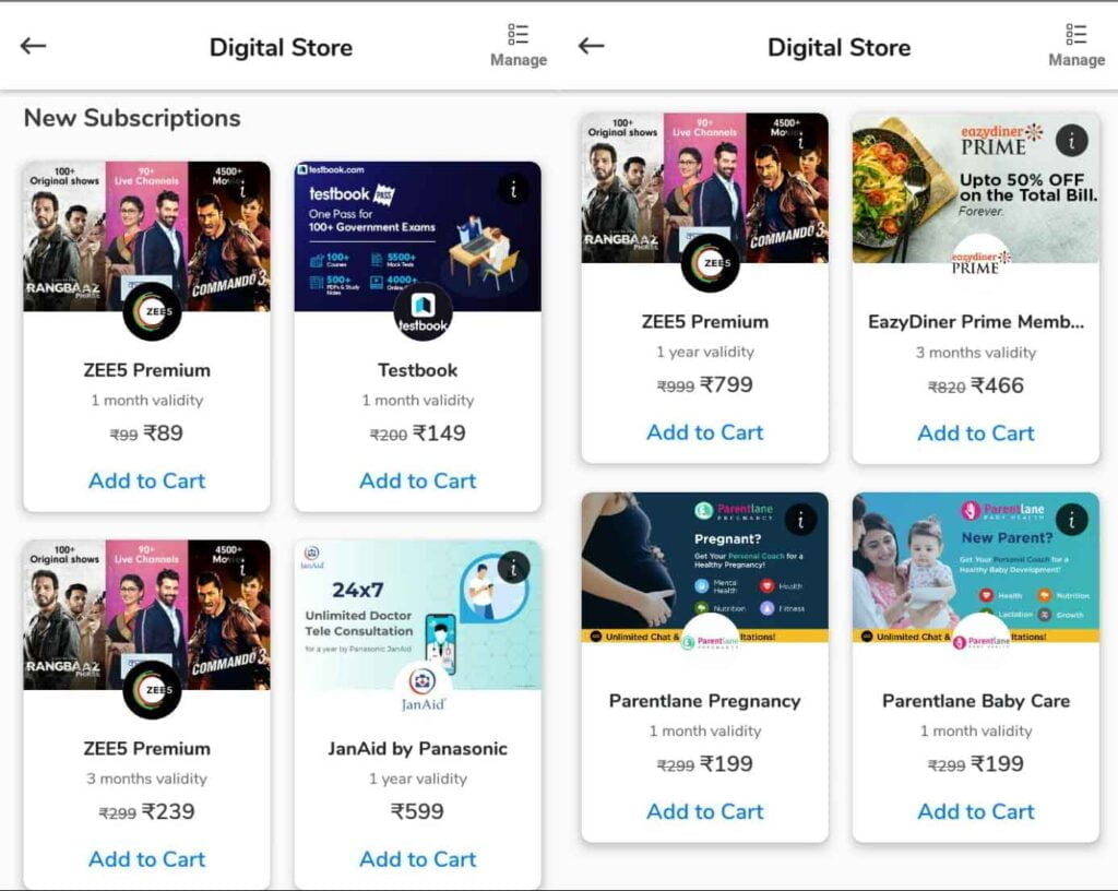 ZEE5 Premium top-up get a discount in Airtel Thanks Digital Store