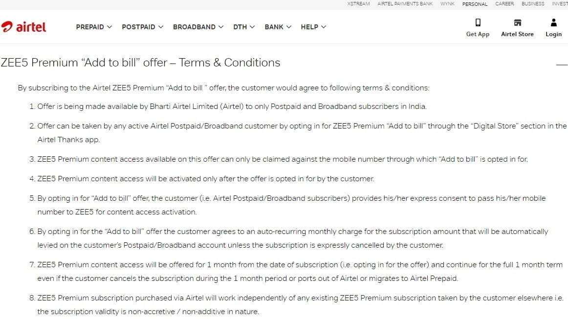 "Airtel Postpaid and Broadband users can add ZEE5 Premium subscription through ""Add to bill"" offer"