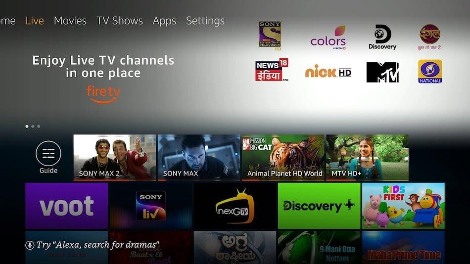 fire tv live tv