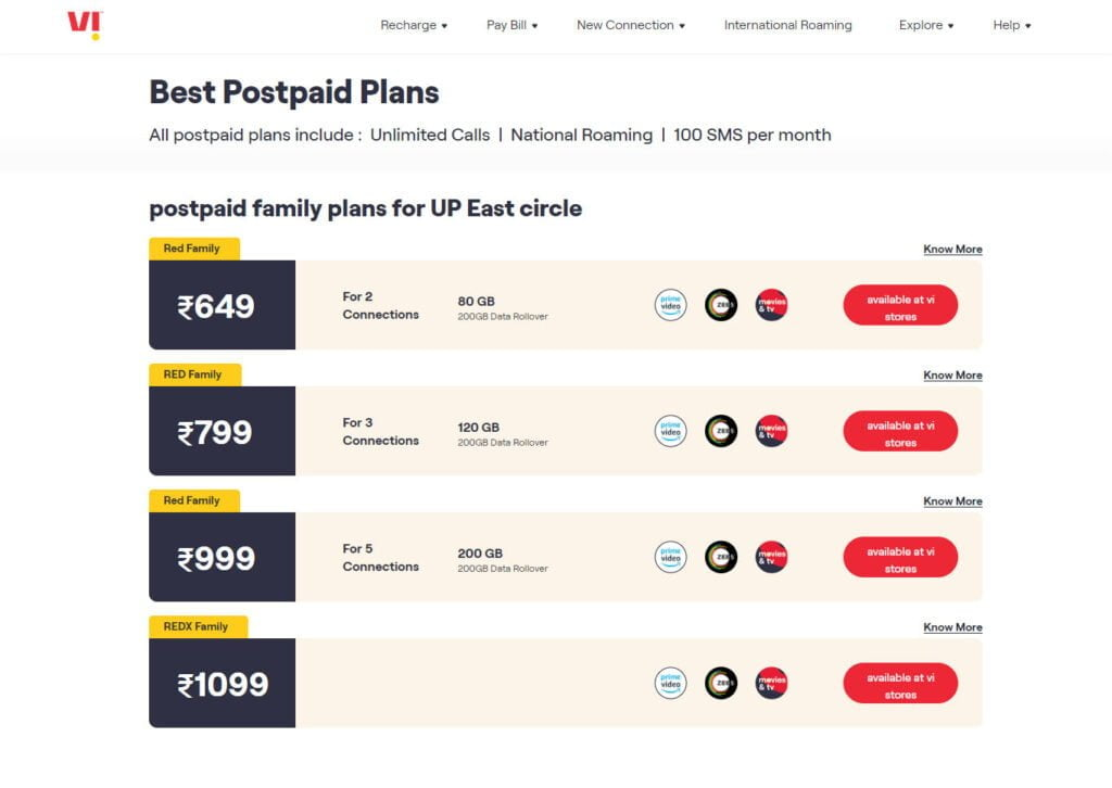 Vi's entry-level Family Postpaid Plans get a price revision