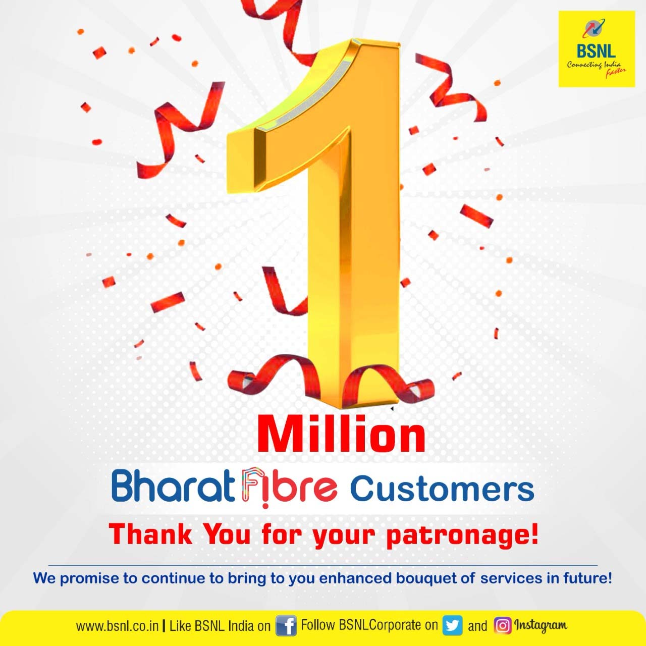 BSNL Bharat Fiber said to cross 1 million customers
